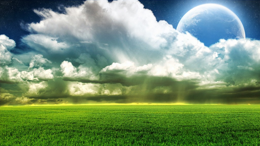 picture-of-natural-scene-The-Planet-Hiding-Behind-the-White-Clouds-Green-Wheats-One-Line-is-Golden